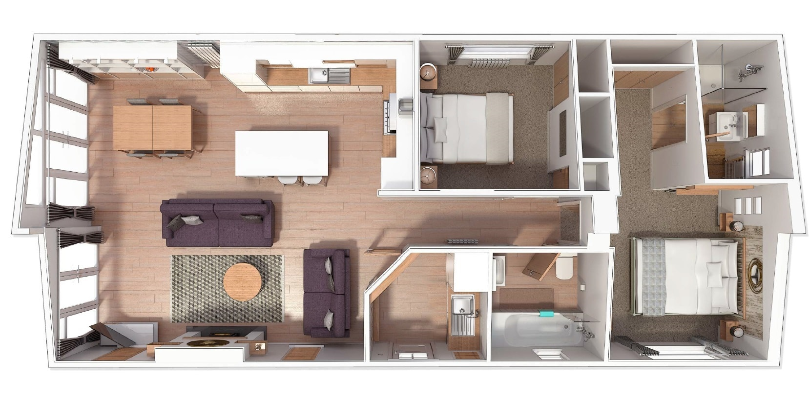 Illustrated below is a 45' x 20' 2 bed floorplan. You can make changes to the plan to suit your requirements.