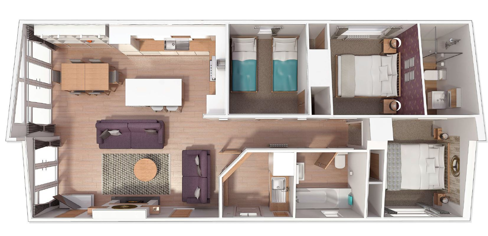 Illustrated is a 45' x 20' 3 bed floor plan. You can make changes to the plan to suit your requirements.