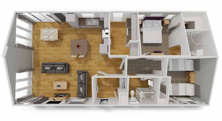 Illustrated is a 45' x 22' floor plan. You can make changes to the plan t suit your requirements.